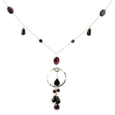 Custom Made Necklace. Sterling Silver And Garnet