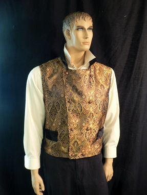 Custom Made Steampunk/Victorian Men's Gold Brocade Vest