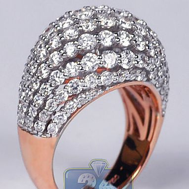 Custom Made Womens Diamond Dome Ring 18k Rose Gold 3.61 Ct Round Cut Certified