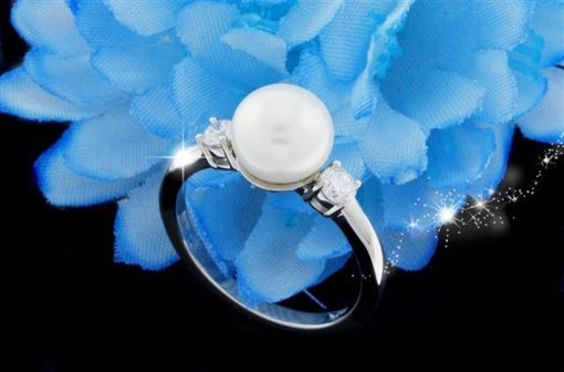 Custom Made Pearl And Diamond Engagement Ring