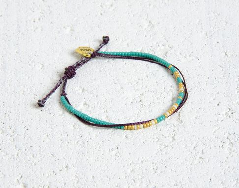 Custom Made Custom Morse Code Bracelet - Teal, Gold & White