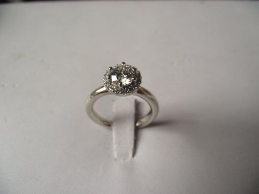 Custom Made Round Diamond In A .28ct. Tw. Halo Setting On A Plain Shank_Very Unusual!