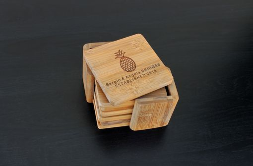 Custom Made Custom Bamboo Coasters, Custom Engraved Coasters --Cst-Bam-Sergio Angela Bridges