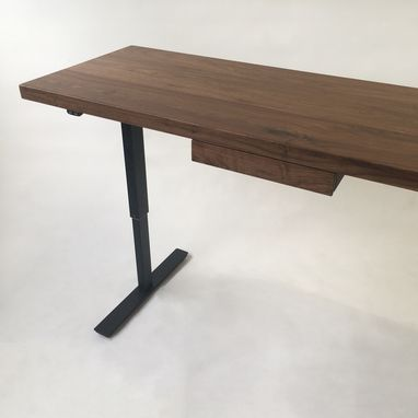custom standing desk kidney shaped mid. Modern Adjustable Standing Desk Walnut Electric With Drawer Custom Kidney Shaped Mid