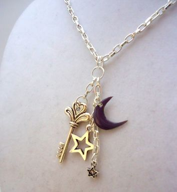 Custom Made Purple Enamel Moon, Swarovski Crystal, And Skeleton Key Necklace