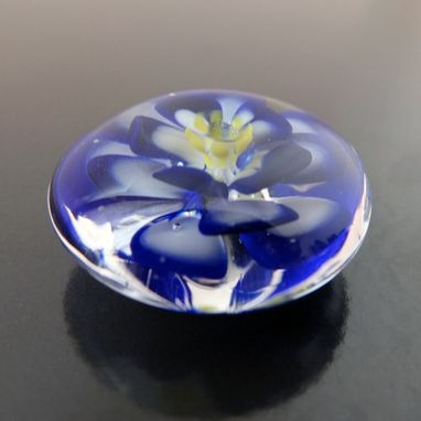Custom Made Cobalt Blue Lotus Bead Button Handmade Lampwork Glass By Gemfox Sra Usa