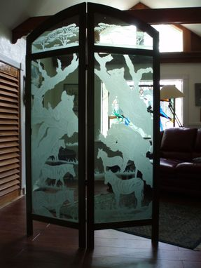 Custom Made African Carved Glass Folding Screen
