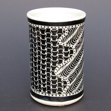Custom Made Large Handmade Stoneware Vase With Zen Doodle Carved Pattern
