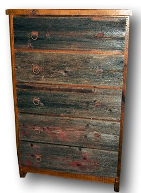 Custom Made Reclaimed Barn Wood Dresser 5 Drawer