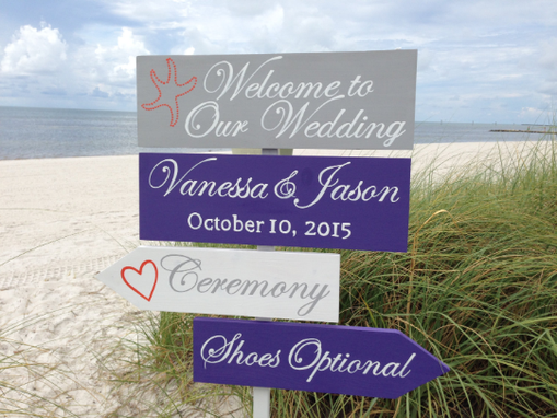 Custom Made Welcome Wedding Directional Sign, Beach Ceremony Silver Decorative Sign