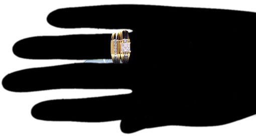 Custom Made Diamond Wedding 3 Ring Set His Hers 14k Yellow Gold 0.48 Ct Bezel Set