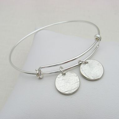 Custom Made Adjustable Silver Bangle Bracelet With Fingerprint Charms