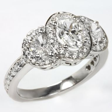 Custom Made Oval 3 Stone Half Moon Diamond Gia Certified Engagement Cocktail Ring