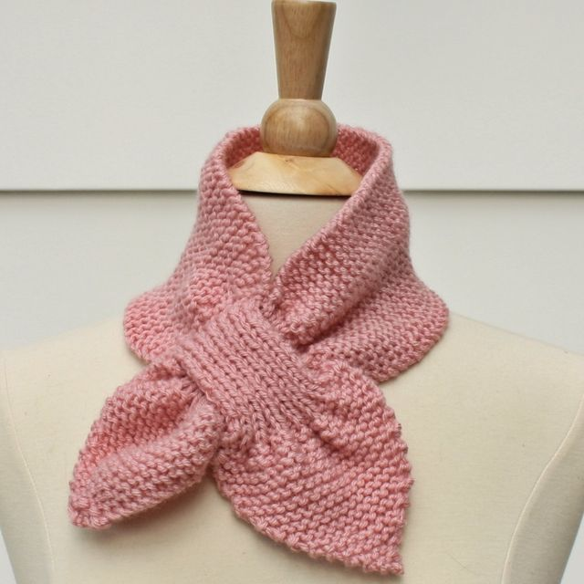 Hand Crafted Knit Pattern Keyhole Scarf Pattern Unique No Slip
