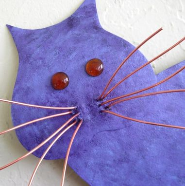 Custom Made Upcycled Metal Purple Abstract Cat Wall Art