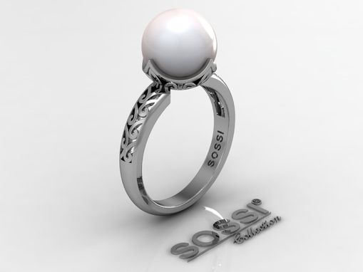 Custom Made Black Pearl Platinum Ring