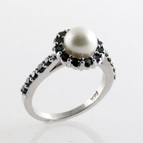 16c6c5778fa5f8 Black Diamond & Pearl Halo Ring
