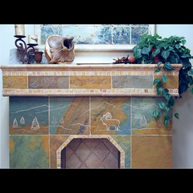 Custom Engraved Tile Slate Fireplace Surround Mantle By Artisan