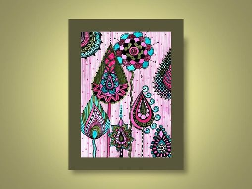 Custom Made Fine Art Print Pink Blue Green- Ink And Acrylic Painting