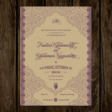 Custom Made Ethnic Wedding Invitations