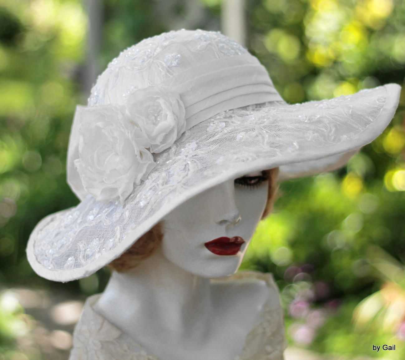 cda6485b8dade Custom Made Wide Brim Elegant Hat Lace Bridal Wedding In A Vintage Style