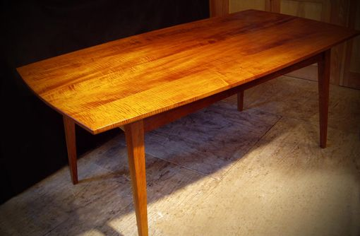 Custom Made Tiger Maple Dining Table - Mid-Century Modern Inspired
