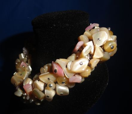 Custom Made Mop, Pink Opal, Shell Bead, Honey Tigers Eye Bead Braclet