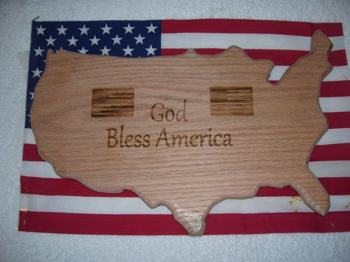 Custom Made God Bless America Plaque Made From Oak