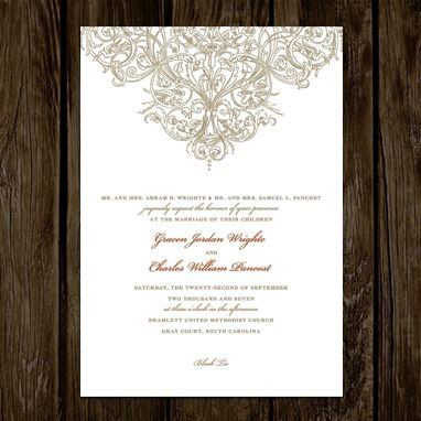 Custom Made Wedding Invitations Ornate Design
