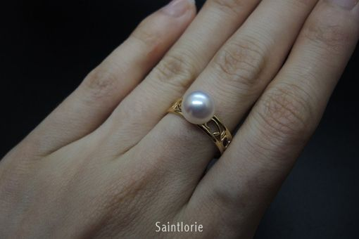 Custom Made 8-8.5 Mm Akoya Pearl Ring