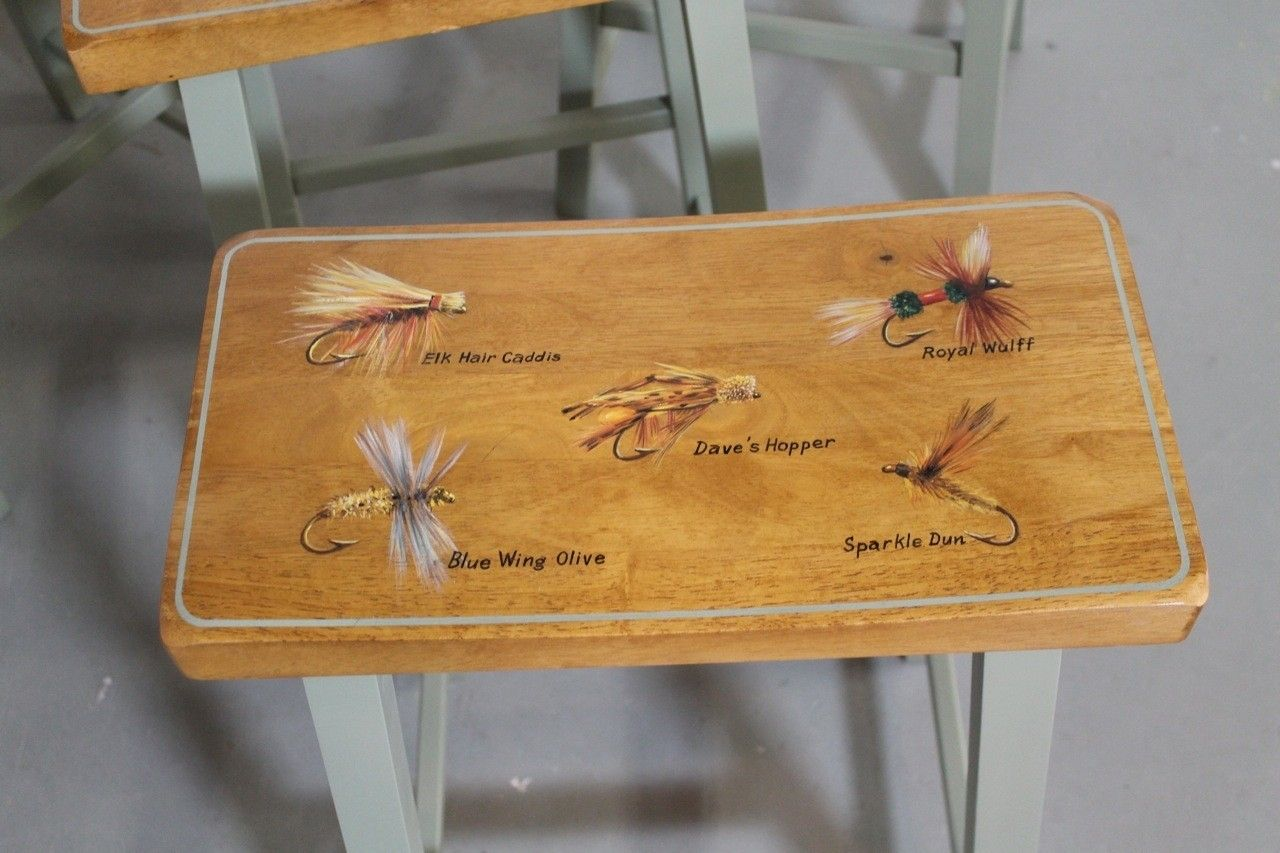 Hand Crafted Custom Painted Fly Fishing Kitchen Stools By