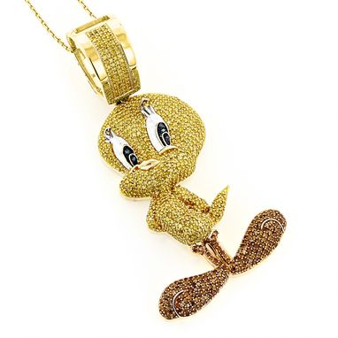 Custom Made Tweety Bird Diamond Pendant