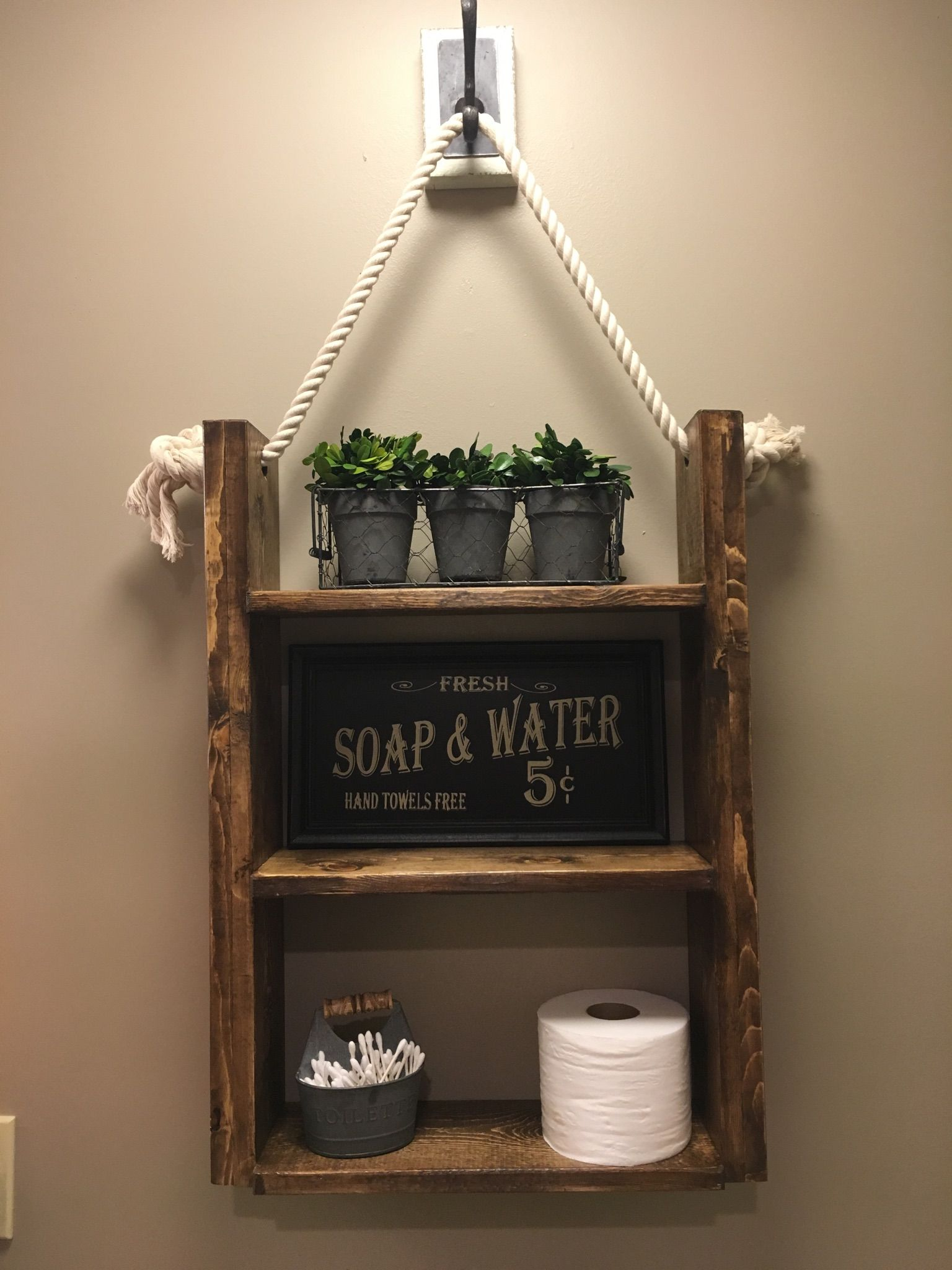 Custom Made Farmhouse Rustic Bathroom Shelf , Hanging Shelf, Rope ...