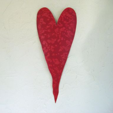 Custom Made Handmade Upcycled Metal Valentine's Heart Wall Decor In Red