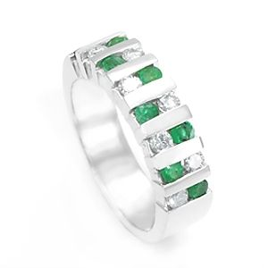 Custom Made Emerald Diamond Wedding Band In 14k White Gold, Emerald Band, Wedding Ring