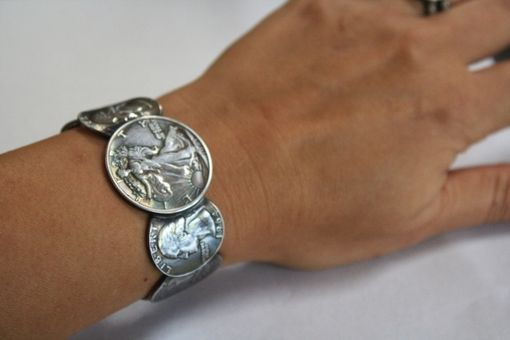 Custom Made Womens Liberty Silver Coin Cuff Bracelet Size 7 (Small)