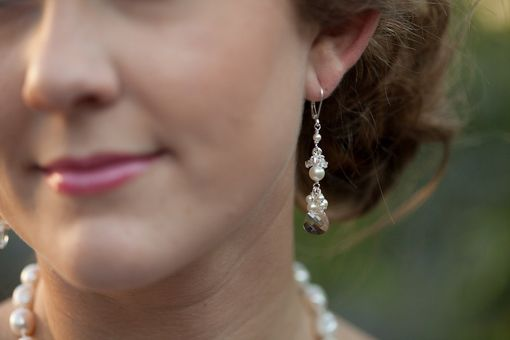 Custom Made Long Pearl & Crystal Cluster Earrings