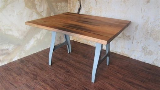 Custom Made Reclaimed Wood Kitchen Table Industrial Legs