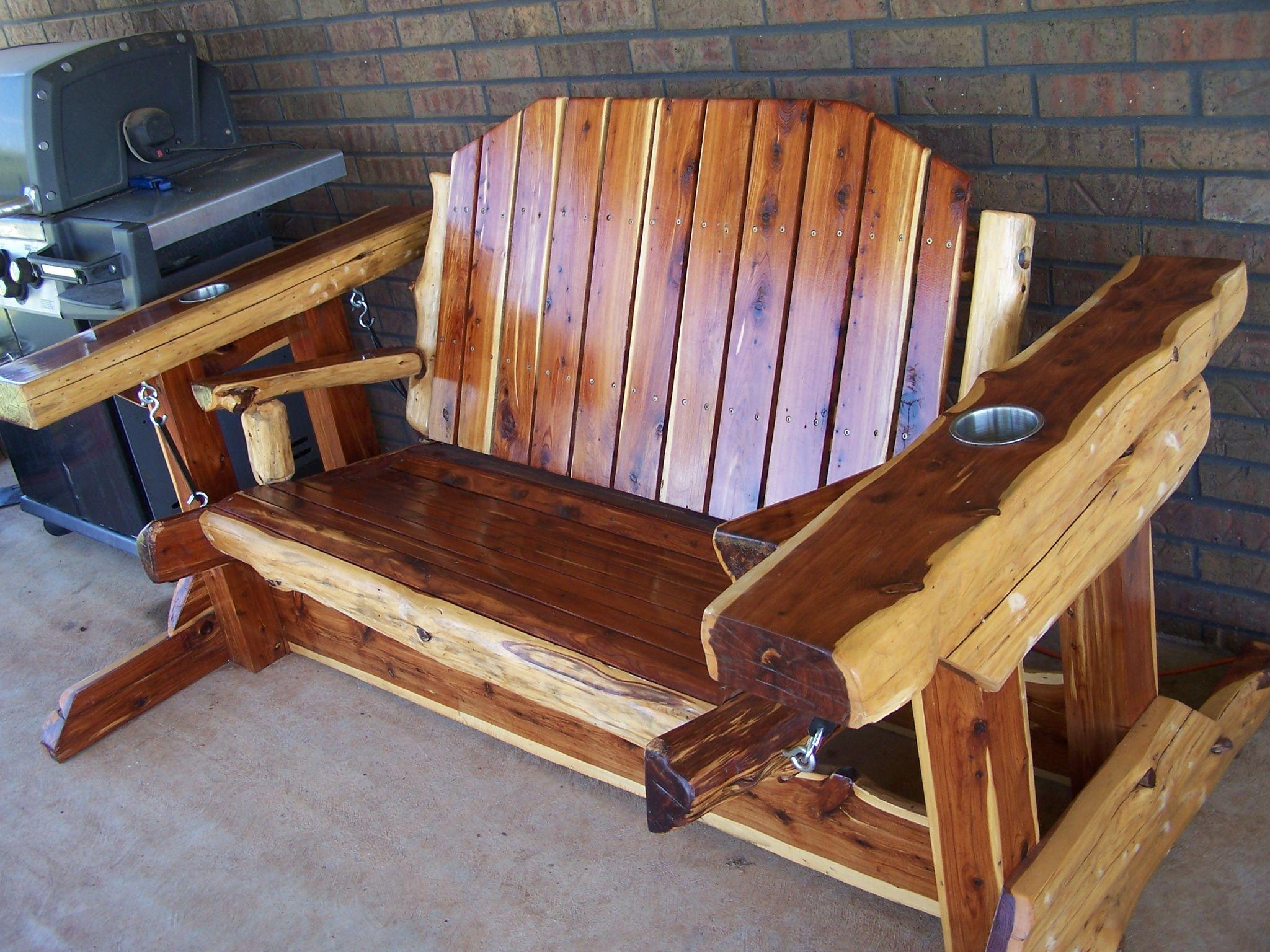 Custom Made Rustic Cedar Glider Swing By Wild West
