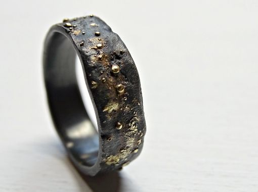 Custom Made Gold Silver Wedding Band, Unique Mens Ring, Gold Fusion Ring, Rustic Promise Ring