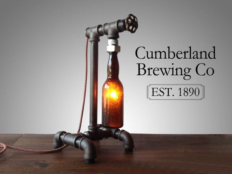 buy hand made industrial beer bottle lamp faucet switch iron pipe historic bottles made. Black Bedroom Furniture Sets. Home Design Ideas