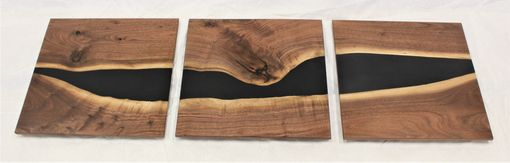 "Custom Made ""Dark Waters"" Walnut And Tinted Epoxy Wall Art"