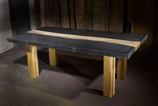 Custom Made Concrete Table With Wood Inlay By Tao Concrete Custommade Com