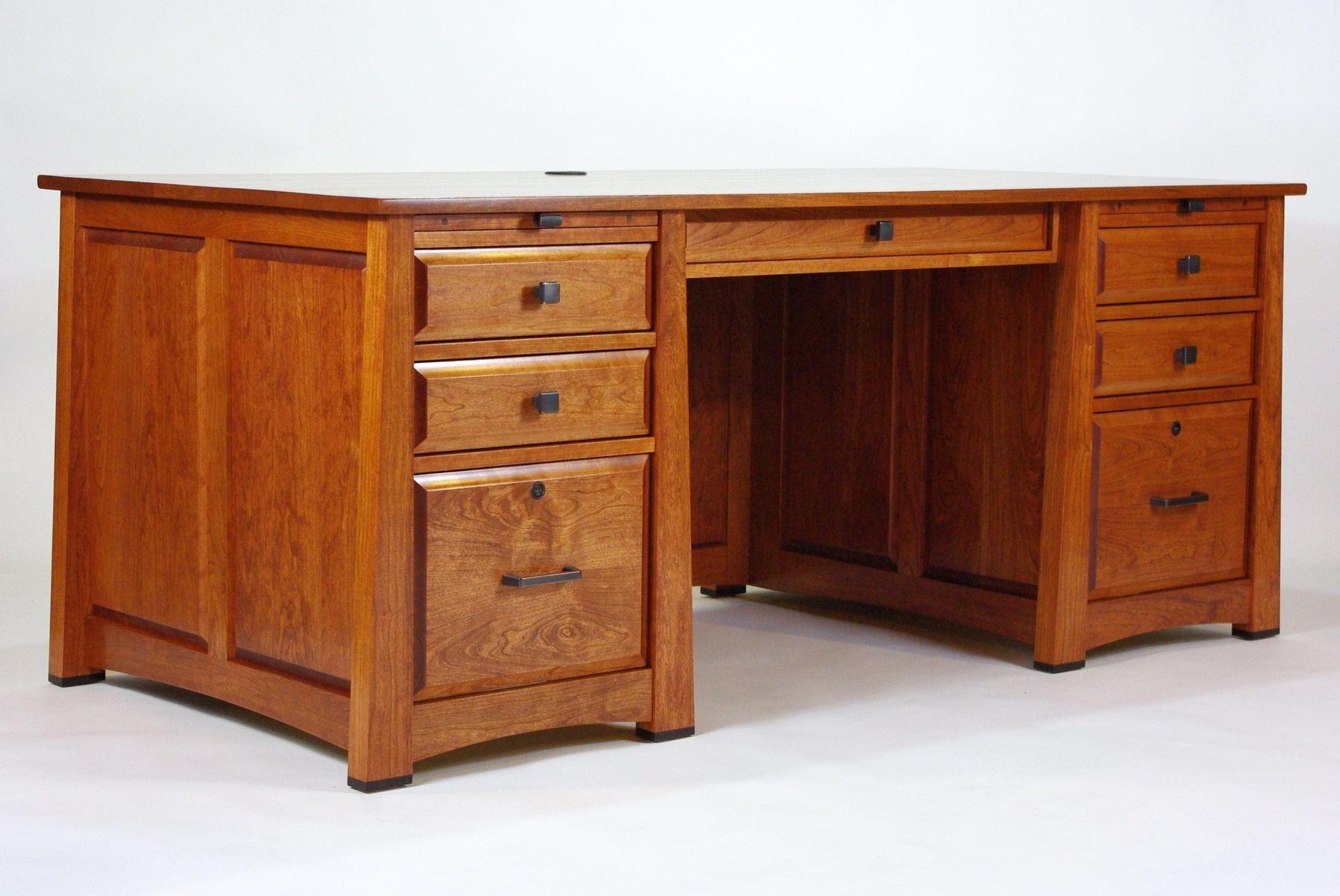 Custom executive desks - Custom Made Executive Desk In Cherry With Ebony Accents