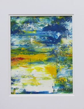 "Custom Made Abstract Acrylic Painting On White Mat ""Reflections''"