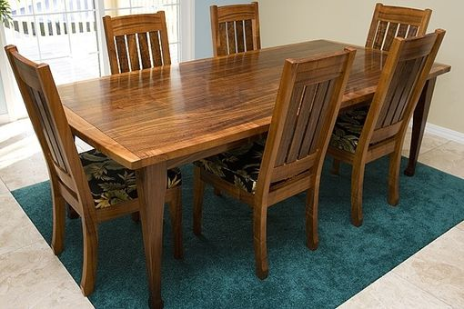 Custom Made Hawaiian Curly Koa Dining Table And Chair