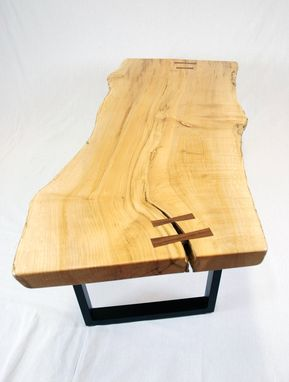 Custom Made Reclaimed Maple Slab Coffee Table With Black Walnut Butterflys