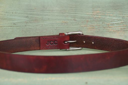 Custom Made Rustic Leather Belt With Initials