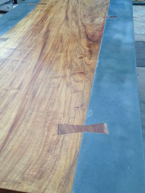 Custom Concrete And Exotic Wood Dining Conference Table