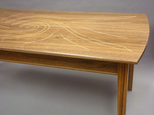 Custom Made Walnut Coffee Table With Maple Inlay